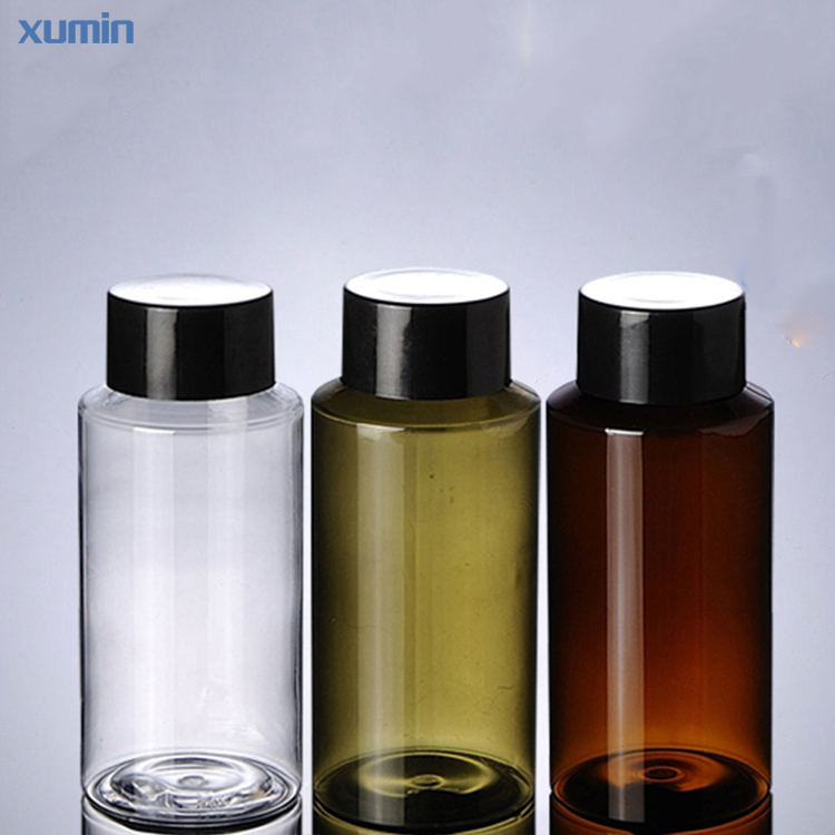 Fast delivery time black screw cap clear green brown 150ml cosmetic pet bottle
