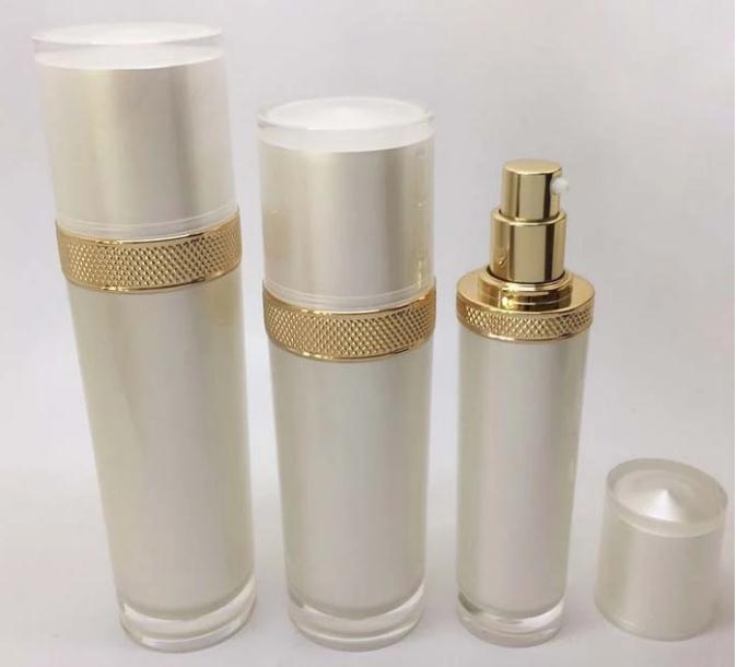 Big Sale pearl white acrylic round cosmetic packaging bottle and jar set Lotion Acrylic Bottle