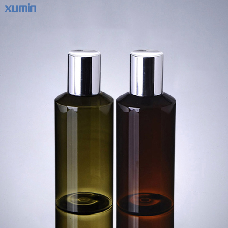 high quality Leakproof design sliver screw cap 100ml 150ml green brown cosmetic pet cosmetic bottle