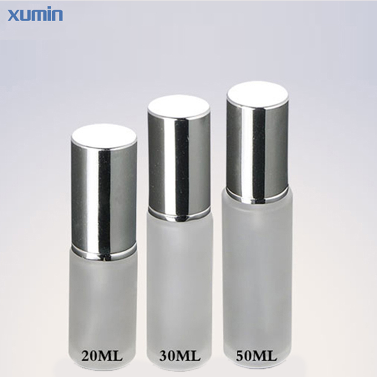 20Ml 30Ml 50Ml Glass Bottles Silver Frosted Spray Cosmetic Glass Bottle for eye cream serum lotion cosmetic