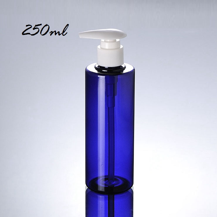 New Arrival 100Ml 200Ml 250Ml White Cylinder Cap Blue Pump Bottle Pet Bottle