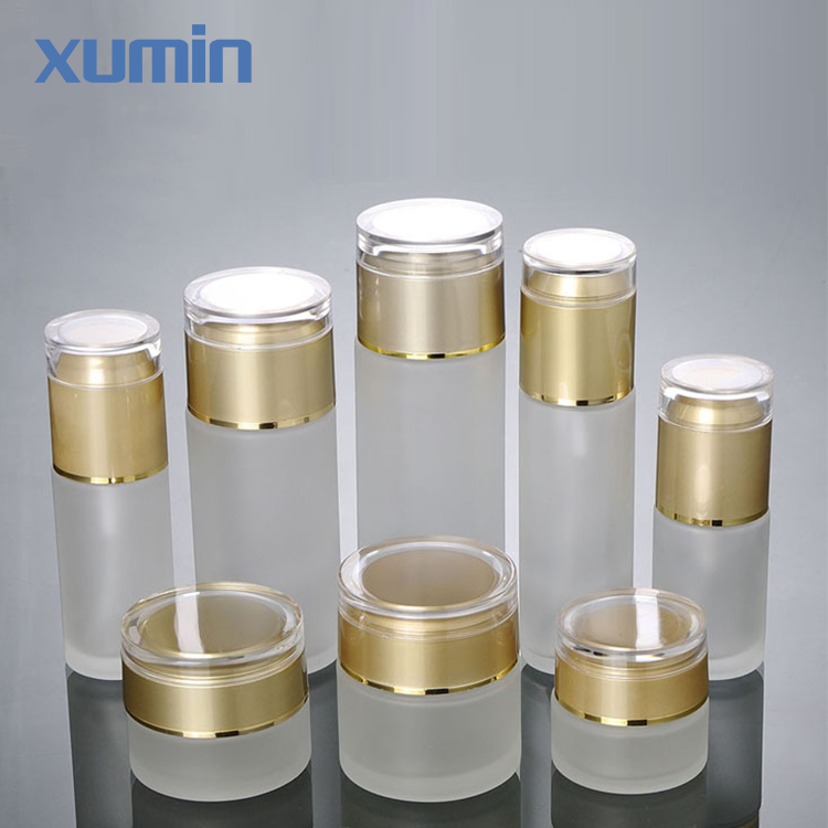 Trade Assurance Cosmetic 20G 30G 50G Golden Glass Jar 30ml 40ml 60ml 80ml 100ml 120ml Frosted Cosmetic Glass Bottle