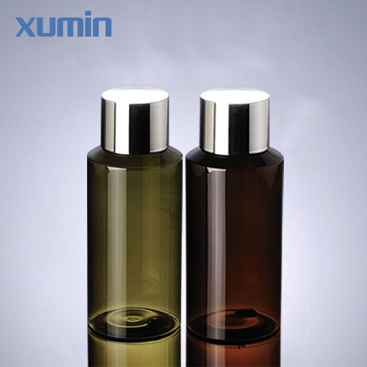 plastic bottle manufacture inclined shoulder sliver screw cap green brown 100ml plastic cosmetic pet bottle