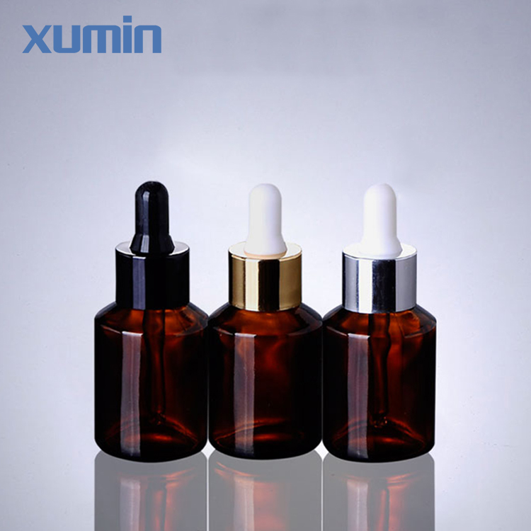 Trade Assurance Brown Dropper Amber Glass Bottle Rubber Cap 30ml Cosmetic Glass Bottle