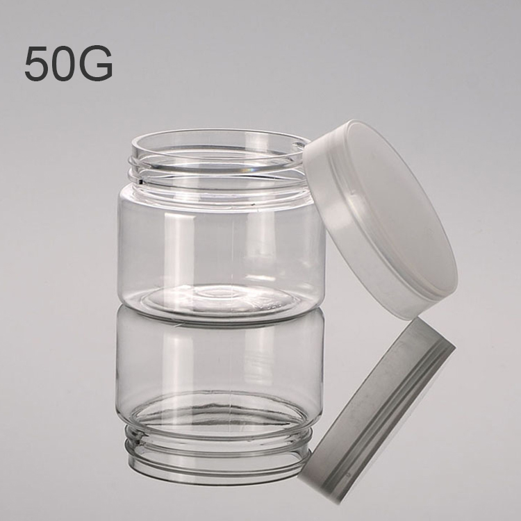 New design clear cap cosmetic packaging 50G 100G 120G 150G 200G clear cosmetic pet plastic jar