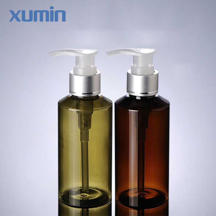 Travel partner inclined shoulder clear pump cap 100ml green amber cosmetic pet bottle