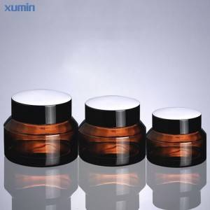 Trade Assurance Amber Glass Cosmetic Jar Fashion Balenie 15G 30G 50G Glass Cosmetic Jar