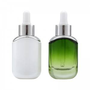 wholesale white/green cosmetic glass dropper bottle 30ml for glass dropper for cosmetic essential oil bottle