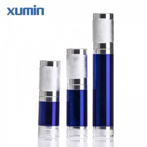 10ml 15ml 30ml blue cosmetic plastic bottle white silver pump head and bule airless bottle