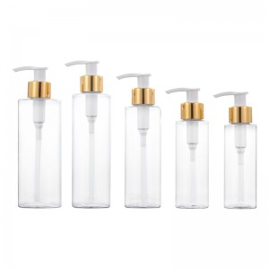 Transparent Gold Circle bottle cosmetic big capacity 100ML 120ML 150ML 200ML 250ML lotion bottle