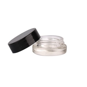 cosmetics 7ml mini glass cream jar and screw plastic lid