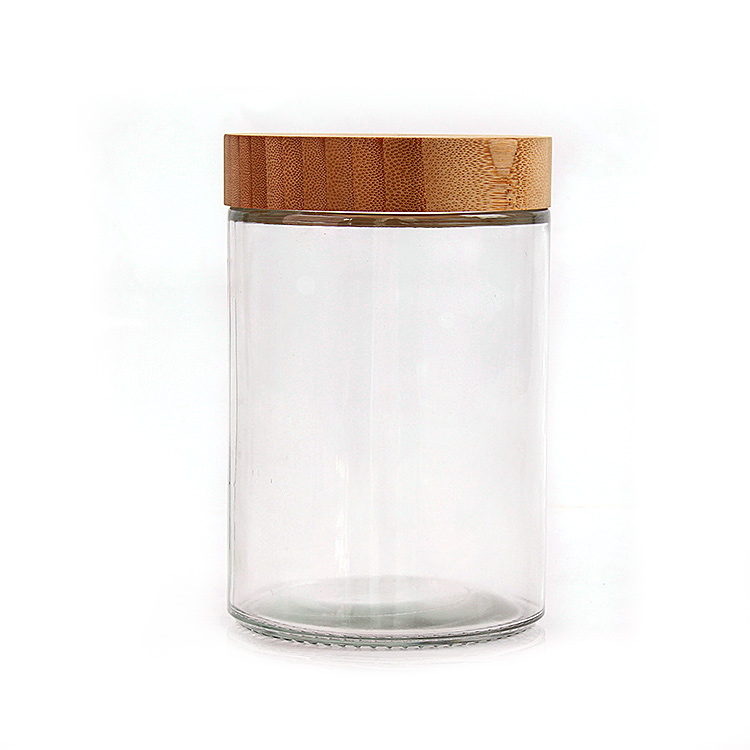 Eco friendly empty 730ml round airtight glass storage jar for food storage with bamboo lid