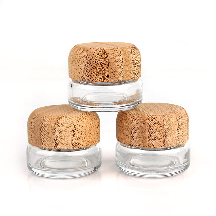 High quality clear 20ml round glass cream cosmetic jar with bamboo wood lid