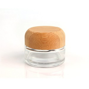 China fectory direct high quality clear round 25g bamboo lid glass cream cosmetic jar container