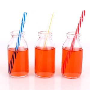 100ml Glass drinking bottle beverage bottles with straw