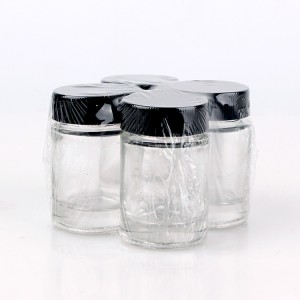 cylinder glass food storage jar with plastic lid