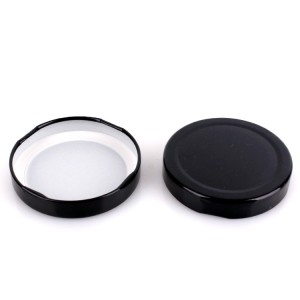 300ml cylinder food canning glass jar with black tinplate lid
