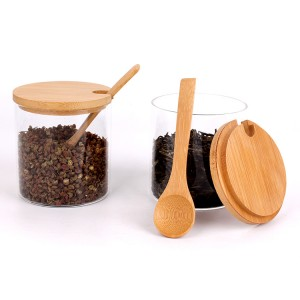 factory price 300ml 10oz Cylinder Borosilicate Glass Storage Jar with Airtight Bamboo Wooden Lid and spoon for Food