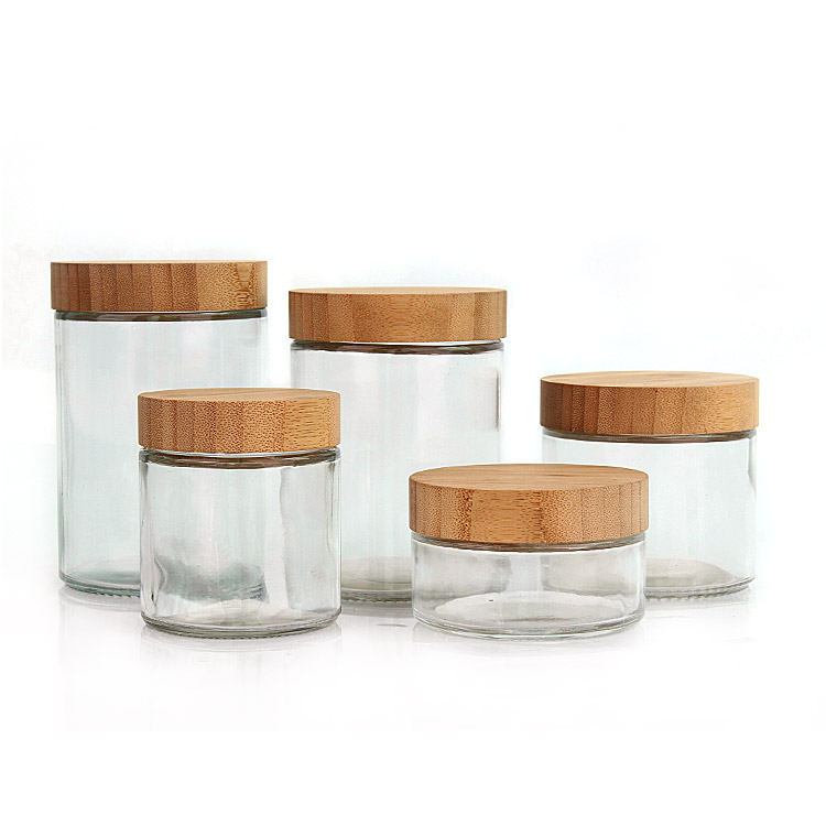 New product 220ml 300ml 420ml 660ml 730ml clear round Airtight glass food storage jar with bamboo wooden lid Featured Image