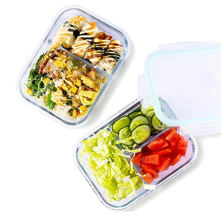 Kitchen Glass Food Storage Containers with Lids 34 Ounce 2&3 Compartment Airtight Glass Meal Prep Containers