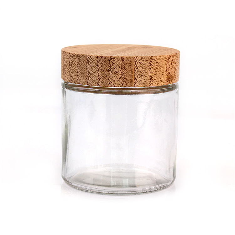 Eco friendly 10oz 300ml round clear glass food storage jar with screw bamboo wooden lid