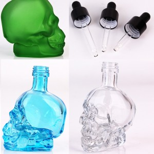 50ml skull shaped glass bottle with dropper