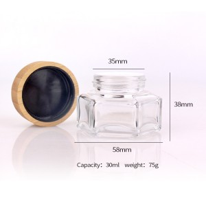 30ml chinese factory 50ml skincare glass jar with bamboo lid