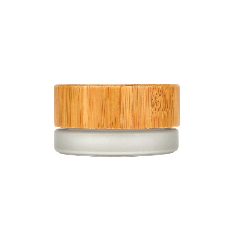 Eco friendly 7ml round frosted eye cream cosmetic glass jar with bamboo wood lid