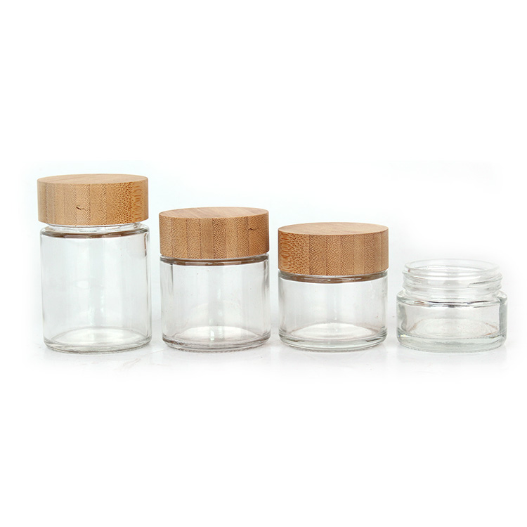 Hot sale round 50ml 60ml 90ml 110ml face glass cream cosmetic jar with bamboo lid