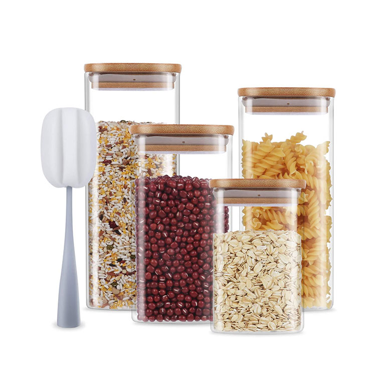 Kitchen Square High Borosilicate Glass Jar Storage Food Container with Airtight Bamboo Lid
