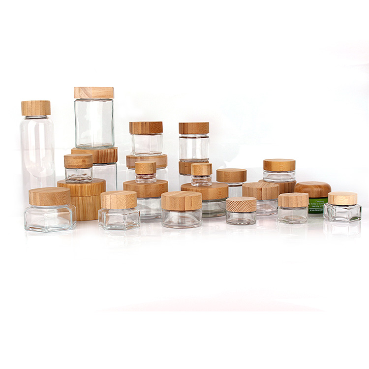 Custom eco friendly bamboo wooden lid glass storage container jars and glass bottles