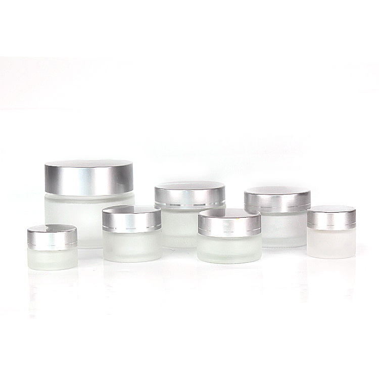 5ml 10ml 20ml 30ml 50ml 120ml frosted round glass cosmetic cream jar with sliver screw lid