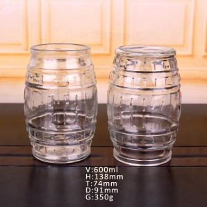 600ml drum shape glass beer juice cup with cork lid