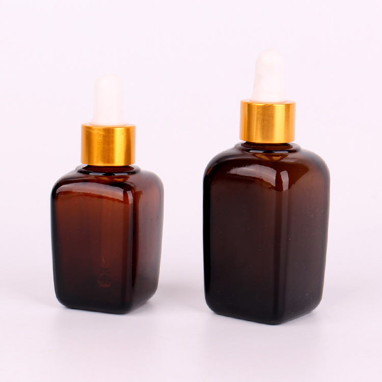 30ml 50ml french square amber glass dropper essential oil bottle