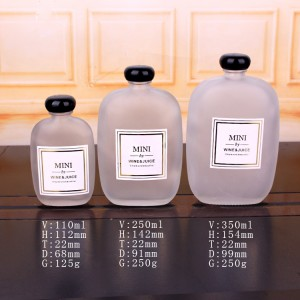 frosted flat glass wine juice bottle with black lid 110ml 250ml 350ml