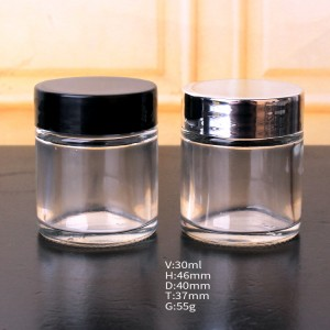 30ml celar round glass cream cosmetic jar with plastic lid