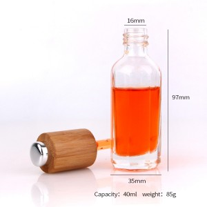 40ml Cosmetic packaging glass dropper bottle with bamboo lid