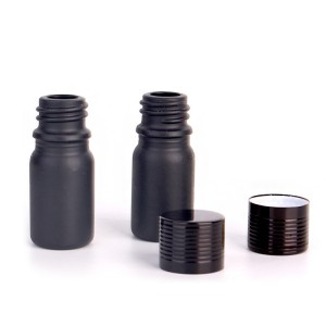5ml Set of 7 black glass spray bottles for essential oils with sprayers pump lid