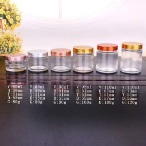 wholesale 1oz 2oz 3oz 4oz straight side wide mouth glass food storage jar with shinny plating lid