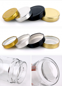 Wholesale wide mouth round clear glass  jar for storage with mental lid