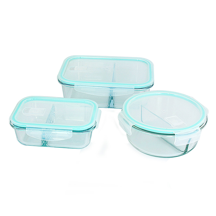 640ml 820ml 1040ml 1520ml Borosilicate Glass Bento Lunch Box with 2 Compartment