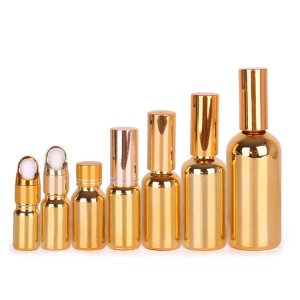 50ml 100ml Electroplating gold color glass essential oil dropper bottle with aluminum lid
