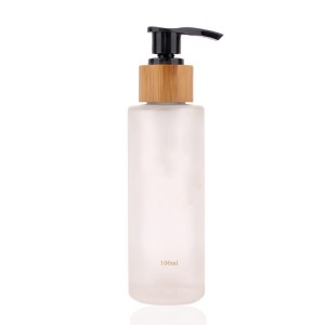 4 oz high quality frosted clear lotion glass bottle with pump