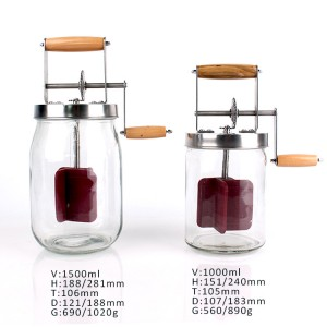 1000ml 1500ml glass butter churn