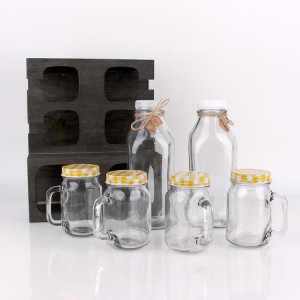 wooden crate packing 4pcs 300ml mason jar 2pcs glass milk bottle 930ml