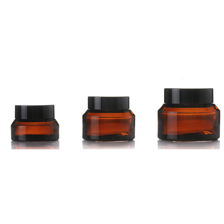 skin care 15ml 30ml 50ml amber glass cream jar with lids