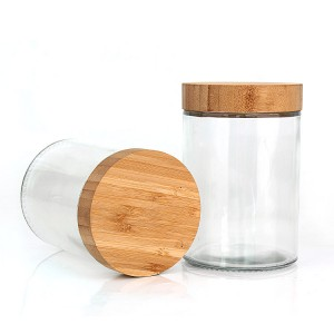 New product 220ml 300ml 420ml 660ml 730ml clear round Airtight glass food storage jar with bamboo wooden lid