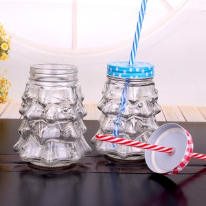 2020 Latest Design  Child Resistant Jar Glass -  900ml Christmas Tree Shape Glass Mason Jar drinking Mug with Metal Lid with Hole and Straw – Yanjia