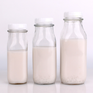 Wholesale Price China Drinking Glass Water Bottle - Wholesale 8oz 9oz 12oz 14oz 18oz clear square glass milk bottle with Plastic lid – Yanjia