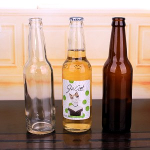 Wholesale 330ml beer bottle juice beverage glass bottle with metal crown cap